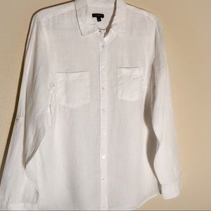TALBOTS 100% Linen Shirt Roll Up Sleeves L White